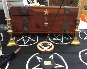 Stunning Vintage Pagan Wiccan Stag Altar Box loaded