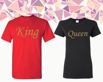 Camiseta de la T de la reina de rey y reina camisas rey & Reina tes par de rey reina par camisetas camisas Tees par regalo para la pareja