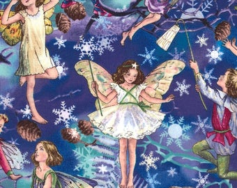 Cicely Mary Barker Flower Fairy Fairies Twilight Characters on Blue 100% Cotton Fabric by Michael Miller - FQ