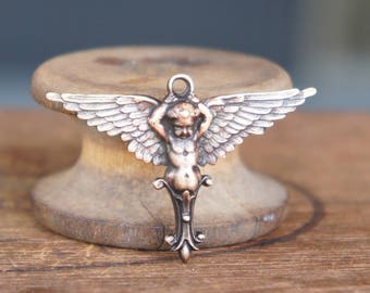 French Brass Stamping Winged Dauphin Neoclassical Cherub Putti Frame Pendant Handmade Supply