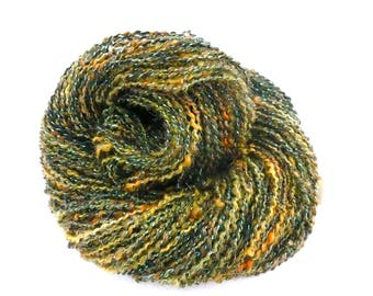 handspun yarn, plied handspun yarn, hand spun yarn, skein handspun yarn, DK handspun knitting yarn, green yellow and orange yarn