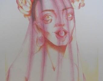 Pastel Pink Roses and Yellow Veil Veil drawing original Print Rose Woman Candy Dilators