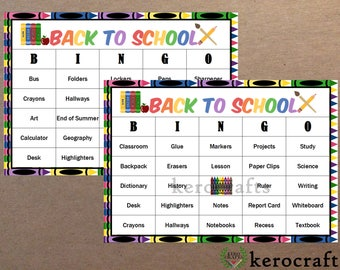 BACK TO SCHOOL Bingo - 40 Cards