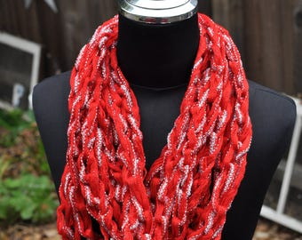 Red and Silver Chain Glitter Scarf crocheted by hand and made with love