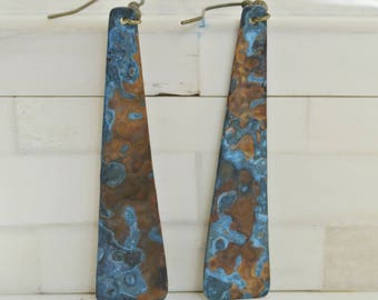 Copper earrings with blue patina