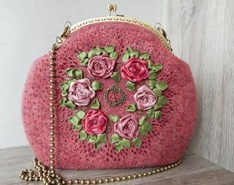 Felt purse, Handbag felted with embroidery,floral pattern,flower bag,Handmade bag,purse,fiber art,wool handbag,designer bag,felted bag