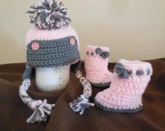 crochet hat and booties ~ pink and gray ~ baby girl ~ 0-3 month ~ crochet hat ~ crochet booties