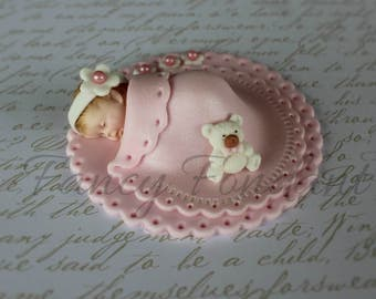 Edible Fondant Baby, Blanket, 3D Christening Baby Shower Cake topper Decoration