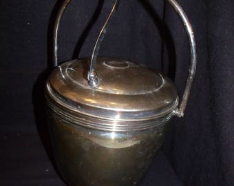 The Sheffield Silver Co silver plated Ice Bucket with Attached flip lid and thermo glass liner 304