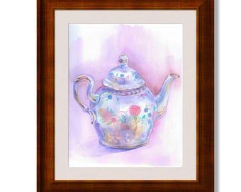 Teapot watercolor, Teapot prints, Kitchen wall art, Kitchen Watercolor Art, original Watercolor print, kitchen art print, tea kettle print