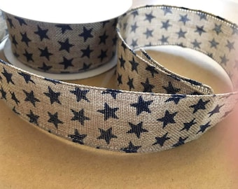 Wired ribbon, navy blue stars, 38mm wide, by 1m length