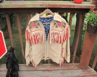 Athabascan handmade wool beaded ceremonial jacket