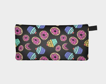 Dessert Cupcakes and Donuts Sprinkles Polytwill Canvas Pouch in Black | Pencil Case | Makeup Bag