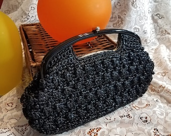 Vintage Black Crocheted Straw Clutch Handbag Summer Purse with Beads