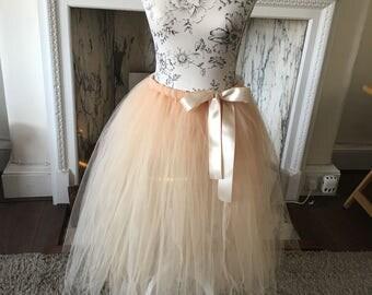 Tulle net long floaty tutu skirt alternative flower girl Bridesmaid, any colour or length Handmade to order uk based