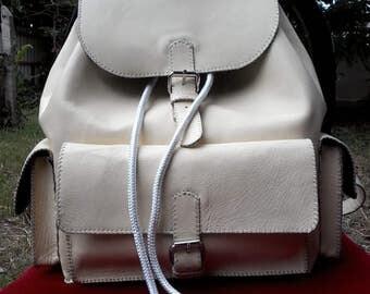 Rucksack leather handstitched