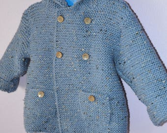 Mottled blue wool hand knit hooded coat