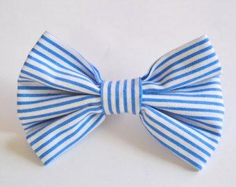 Preppy Blue & White Stripe Bow Tie