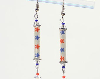 Patriotic American Flag Dangle Earrings #385