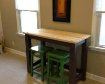 No shelves - Multi size/use, Kitchen Island, Desk, Bar/Pub table, Butcher block style with seating for 2,3 or 4