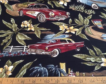Classic cars cotton fabric by the yard