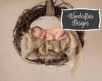 Newborn Digital Background/Hanging Wreath with Mohair Layer/Fur