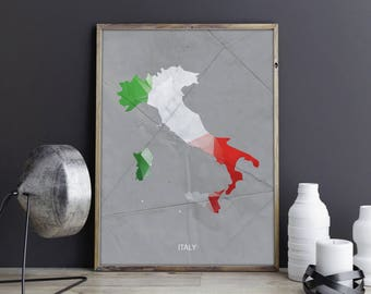 Italy Art Italy Wall Art Italy Wall Decor Italy Photo Italy Print Italy Poster Italy Map Country Map Watercolor Map Country Map Print