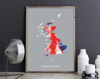 United Kingdom Art United Kingdom Decor United Kingdom Photo United Kingdom Print United Kingdom Map Country Map Watercolor Map Country Map