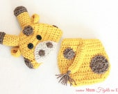 Crochet Giraffe Hat and Diaper Cover, Baby Giraffe Hat, Newborn Photo Prop, Christmas gift for baby, Baby Shower Gift