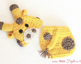 Crochet Giraffe Hat and Diaper Cover, Baby Giraffe Hat, Newborn Photo Prop, Baby Giraffe Outfit, Baby Shower Gift