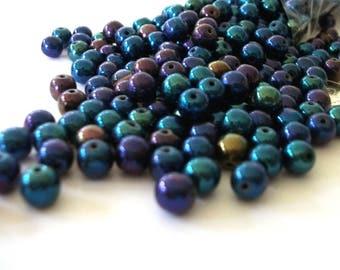 6mm Beads Blue Iris Czech Glass Round Pressed Druks Bead Stringing Beaded Jewelry Supplies / 6mm Blue Iris Druk Beads 50