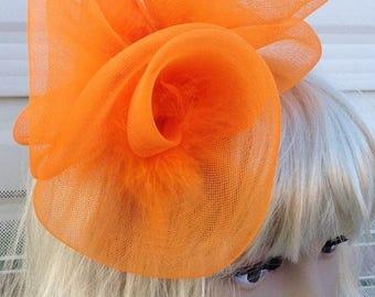 orange feather fascinator millinery burlesque headband wedding hat hair piece