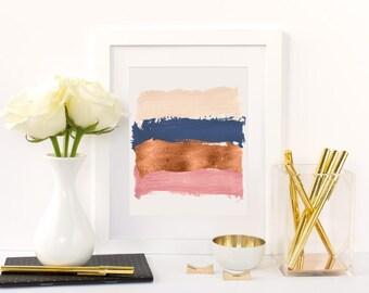 PRINTABLE Rose Gold Paint Brushstroke Wall Art