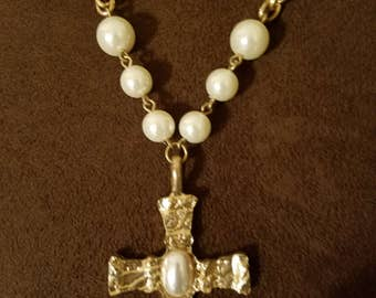 "Handmade Cross With Pearls Necklace 22"" to 24"" With Extender \"