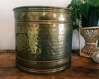 Large Hobnail Hammered Brass Planter, Vintage Pot