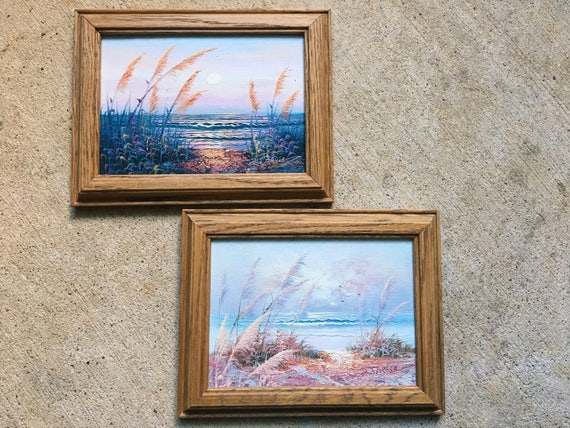 Pair of Vintage Seascape Paintings, Signed Original Art, Beach Scenes