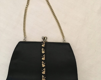 Black Satin Evening Bag with Floral Ribbon