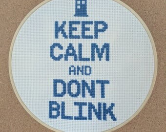Cross Stitch Pattern Modern PDF   Doctor Who   Keep Calm Quote