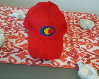 Cap red with an African print
