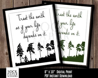 Printable Print, EcoFriendly Home Decor Typography Wall Art, Treat the earth as if your life depends on it, PDF Digital Download, Sku RHO107