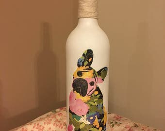 French Bulldog Decoupage Bottle