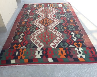 "TURKİSH RUG,Oushak Rug,Vintage Rug,Home Living,Handwoven Rug,Oushak Rugs,Area Rug,Rustic ,Vintage Rug, 9'5""X 6""feet, 290 X 184 cm ."