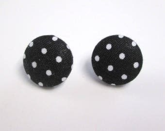 Black polka dot button earrings fabric covered earrings post earrings handmade gift