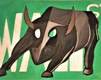 Wall Street Bull on Sign
