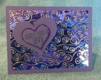 Stampin' Up! Purple Diecut Heart - Groovy Kind Of Love - Valentine - Embossed Swirls Shiny Mylar Stickles Glitter - Handmade Greeting Card