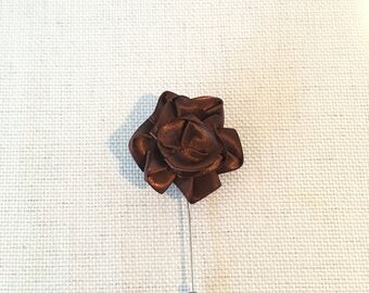 Brown Men's Lapel pin Boutonniere silk fabric Handmade USA perfect for Weddings,Fathers day,Kentucky derby, funerals or special occasion