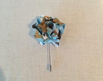Multi color striped Men's lapel pin boutonniere handmade USA, for weddings, Kentucky derby, weddings, fathers day funerals, gift giving
