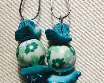 Teal & Turquoise Silver Dangle Earrings