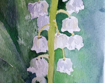 Original Lilly of the Valley Watercolor Painting