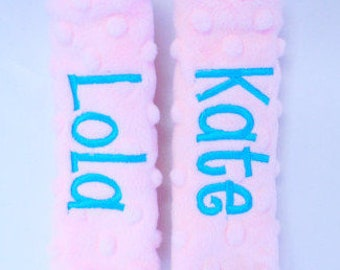 Personalized Baby Car Seat Straps-Baby Pink Minky- Choose Your Colors